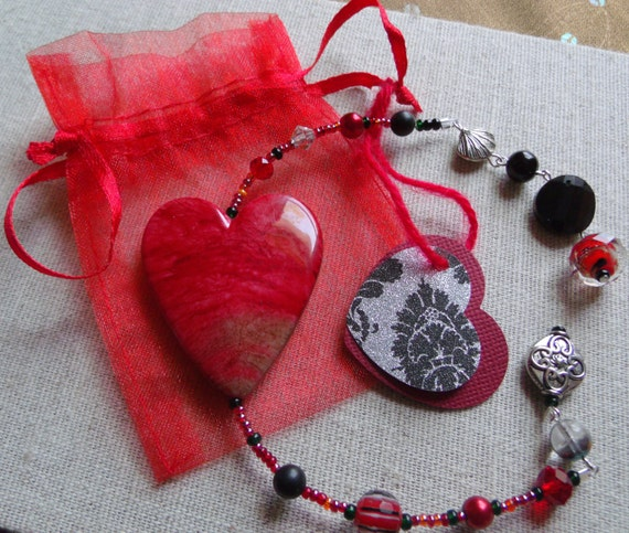 Red heart bookmark - rear view mirror - sweetheart - crimson  window  decor - memento - tote charm -  page marker - love - valentine gift
