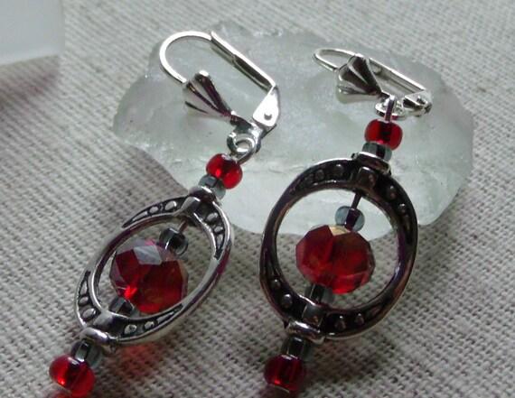 Red holiday earrings - festive jewelry - stocking stuffer - oval framed earrings - ships right away - crystal earrings - gift for her
