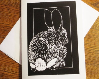 Note Card, Woodcut Cottontail Rabbit