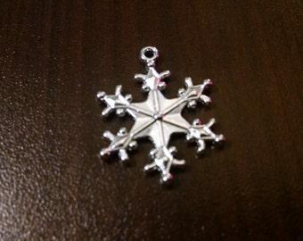 10pcs - 25MM Silver Snowflake Charm - Jewelry Supplies - Charms - Holiday Charms - Bracelet Charms - Jewelry Making Supplies