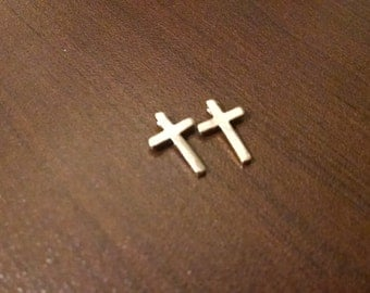 2- 13mm Tall Crucifix Charm - Cross Charm - Pendant - Necklace Pendant - Bracelet Charm - Jewelry Supplies