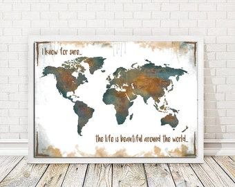 World map watercolor print, Travel map, World map, World map watercolor, Map painting, Beautiful around the world, Wall art,INSTANT DOWNLOAD