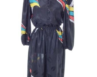 Vintage 70's Black Colorblock Dress Size Medium 9 JDB of California