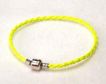"20.5cm (8"") Braided Leather European Charm Bracelet in Yellow"