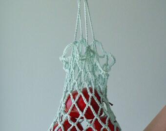 Shopping bag in a net/bag in cotton/Eco-bag/bag for reusable market/bag / turquoise/Market bag/Mesh bag/Atricote crochet bag