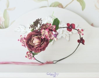 Bridal floral crown Burgundy flower headband Hydrangea boho crown Peonies hair wreath Wedding burgundy hair dress