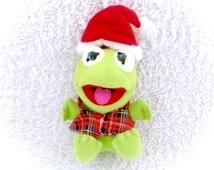 1987 Muppets Baby Kermit Tartan Plaid Christmas Hat Vest Babies Frog Jim Henson RARE Green Fast Food McDonald's  COMPLETE Rare Euc