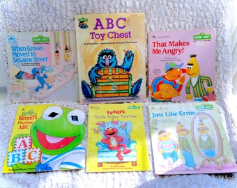 Lot Of 6 Vintage Sesame Street Children's Books Kids Muppets Jim Henson Classics Picture Book Baby Kermit Elmo Grover Bert 6 Piece 90s 80s