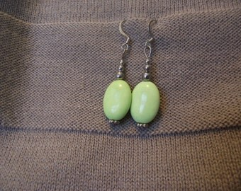 Green Agate and Silver Dangle Earrings