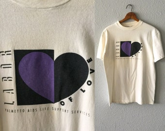 "1980's Aids Charity Palmetto Aids Life Support Services ""Labor of Love"" Vintage Hanes T Shirt"