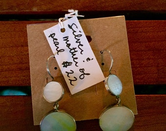 Thai silver and mother-of-pearl earrings