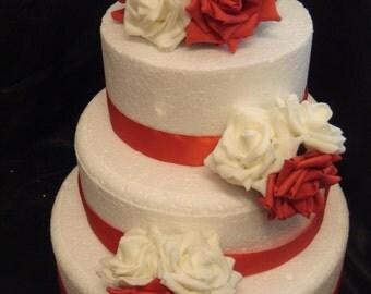 a wedding rose cake topper set