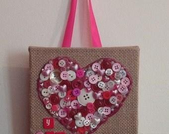 Button Heart on burlap 6x6 Valentine Gift mixed media button art