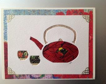 Iris Folded Asian Tea Pot made of Multiple Handmade Papers, gold Accenta