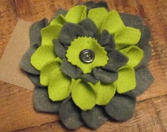 Grey and Green Dahlia Felt Brooch with Button