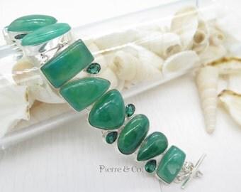 Chrysoprase and Emerald Quartz Sterling Silver Bracelet