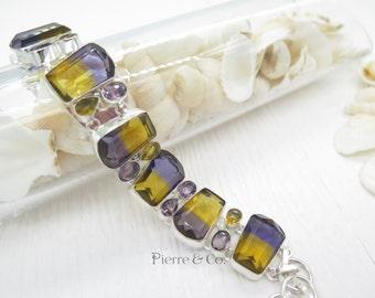 Labe Stimulated Ametrine Amethyst Citrine Sterling Silver Bracelet