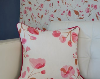 Pink Cherry Blossom Piped Cushion/100% linen/Cerise, Blush, Copper/45x45cm/Curled Duck Feather Pad/Digitally Printed/Gifts for Her/Bedroom