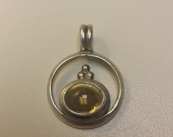 Sterling Silver .925 Pendant With Citrine Cabochon