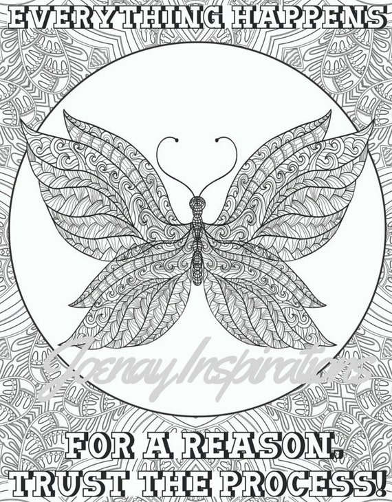 Adult Coloring Book Printable Coloring Pages, Coloring Pages, Coloring Book for Adults Instant Download Inspiration and Affirmation 2 page 1