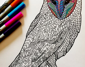 Barn Owl - PDF Zentangle Coloring Page
