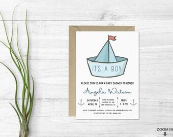 Its a boy invitation - Baby shower invitation - Boy baby shower - Nautical themed invitation - Baby shower invites - Boat and anchors