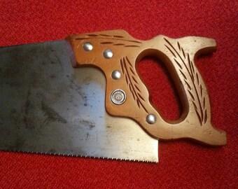 Vintage Handsaw Disston D-23 Crosscut Handsaw Straight Back 10 Point Trim Saw