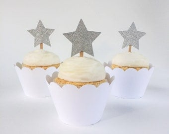 Silver Glitter Star Cupcake Toppers - Set of 12 – Silver Star Food Picks -  Silver Star Cupcake Topper - Ready to Ship