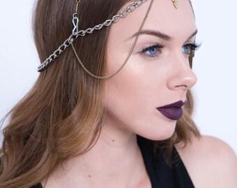 Festival Headpiece / Boho Headpiece / Chain Headpiece / Arrowhead Jewelry / Festival Halo / Festival Jewelry / Festival Headband / Boho
