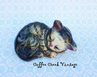 Vintage Sleeping Tabby Kitten Figurine