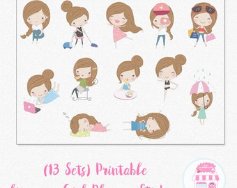 Cute A Girl's Life Stickers for Planners | Kikki K | Filofax | Happy Planner | Erin Condren