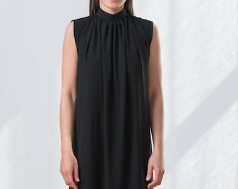 High collar classic black dress