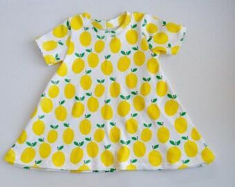 baby dress, organic baby dress in lemon print, sizes infant - 5T,  toddler dress, organic toddler dress, baby gift, organic baby