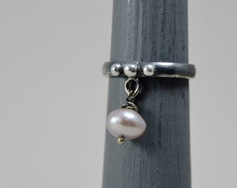 dangle pearl ring, sterling silver ring, oxidized ring, handmade silver ring, free shipping, gift for her