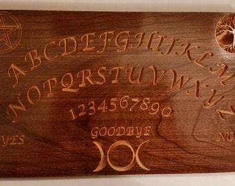 Tree of Life, Pentacle, Triple Goddess Cherry Ouija Board, Spirit Board