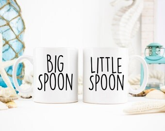 His and Hers, Couple Mugs, Big Spoon Little Spoon, Better Half Mugs, His and Hers Coffee Mugs, Anniversary Gifts, Wedding Gift, Couple Gifts