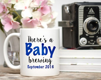 There's A Baby Brewing, Pregnancy Announcement, Gender Reveal Mug, Baby Announcement Mug, New Baby Mug, Baby Brewing Mug,  Baby Announcement