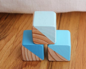 3 Blue Painted Wooden Blocks