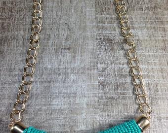 Gorgeous Turquoise Beaded Twisted Chic Bohemian Southwest Gold Tone Necklace