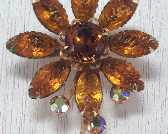 Vintage Flower Leaf Brown Molded Rhinestone AB Tier Fall Autumn Brooch Pin
