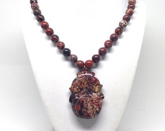 1Gorgeous Vintage Estate IND Knotted Jasper Beaded Floral Pendant Necklace