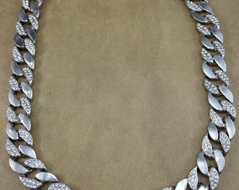 Gorgeous Vintage Thick Chain Clear Rhinestone Shiny Heavy Silver Tone Necklace