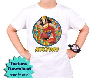 Lego Wonder Woman iron on transfer - DIY Lego T shirt - Lego Birthday Party T-shirt -  Lego Iron on transfer applique Instant Download