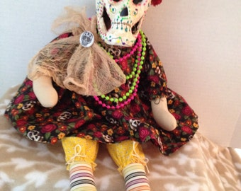 Day of the Dead, Sugar Skull, Día de Muertos, Primitive Dolls, Home Decor, Dolls Handmade, OOAK art Dolls, Skull Decor, Skull dolls