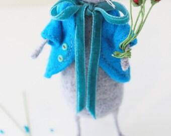 Needle Felted Rose Mouse- Wool Ornament- Little Home Décor- LittleMiniTitchy™ - UK