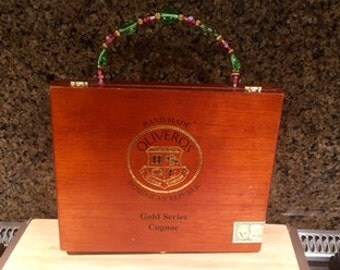 Oliveros Wood Cigar Box Purse w/Beaded Handle