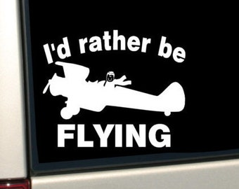 I'd Rather be Flying Stick Figure -  WINDOW DECAL