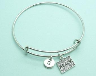 Colorado charm bangle bracelet, personalised initial bangle, letter, personalised charm, USA