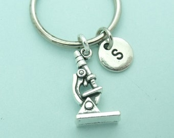 Microscope charm initial keyring / keychain, science keyring accessory, personalised keychain, initial gift for her/him, microbiology