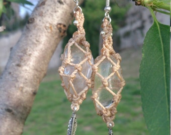 "Rolled earrings rock crystal earrings ""cleaners"", earrings rock crystal / earrings beige"